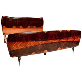 Italian Exotic Burl Rosewood Bed After Borsani For Sale