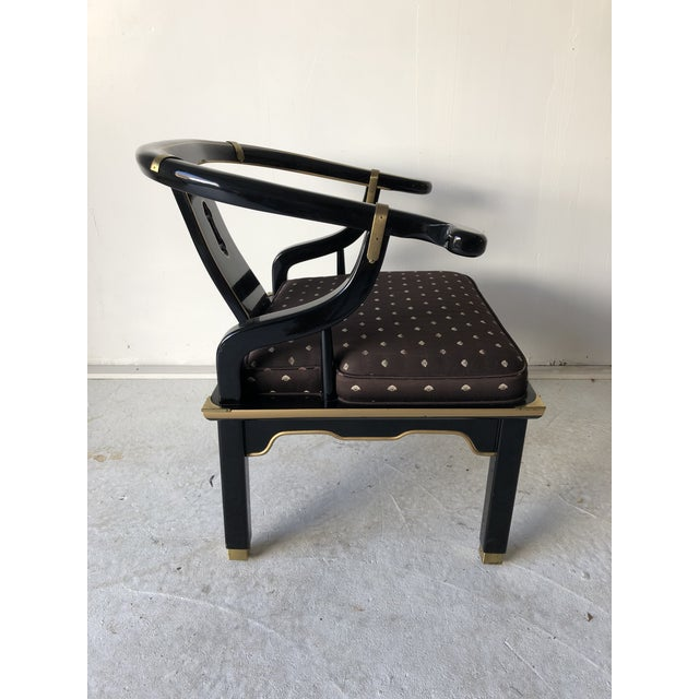 "Black Asian Style Black Lacquer ""Hickory"" Arm Chair For Sale - Image 8 of 12"