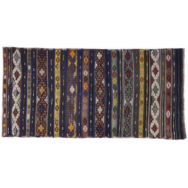 Vintage Turkish Tribal Kilim Rug With Boho Chic Style - 5′5″ × 10′10″ For Sale