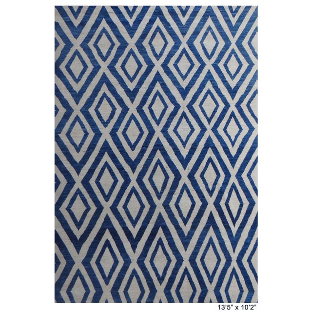 """Hand Knotted Navajo Blue Rug - 13'5"""" X 10'2"""" For Sale - Image 4 of 4"""