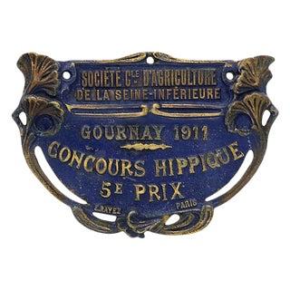 1911 Paris Horse Show Trophy Plaque For Sale