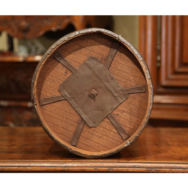 Mid-19th Century French Walnut and Iron Grain Measure Basket With Inside Handle For Sale - Image 10 of 11