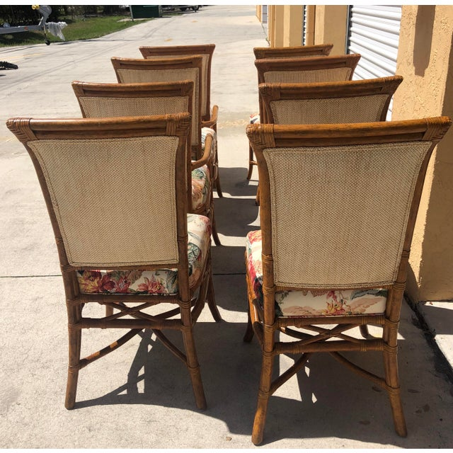 Wood McGuire or Palecek Bamboo Leather Wrapped Dining Chairs- Set of 8 For Sale - Image 7 of 12