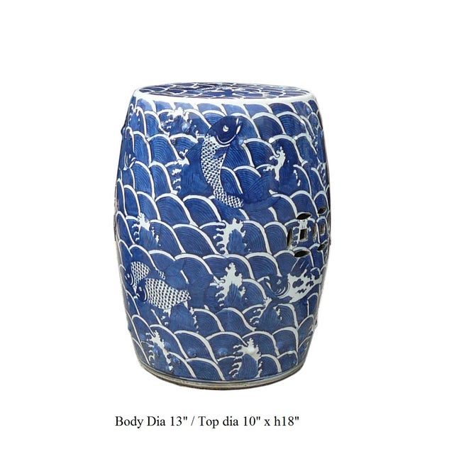 Blue And White Porcelain Round Fishes Stool Table - Image 6 of 6