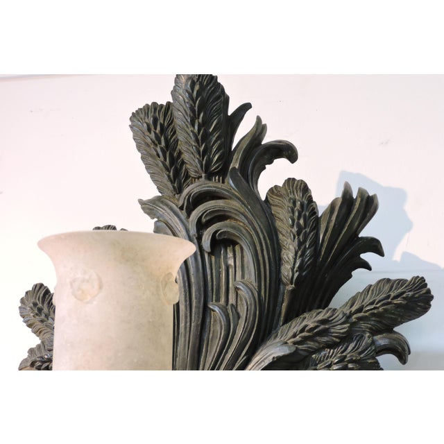 Late 20th Century Pair of Bronze Wheat Sheaf Sconces With Murano Glass Lamps For Sale - Image 5 of 8
