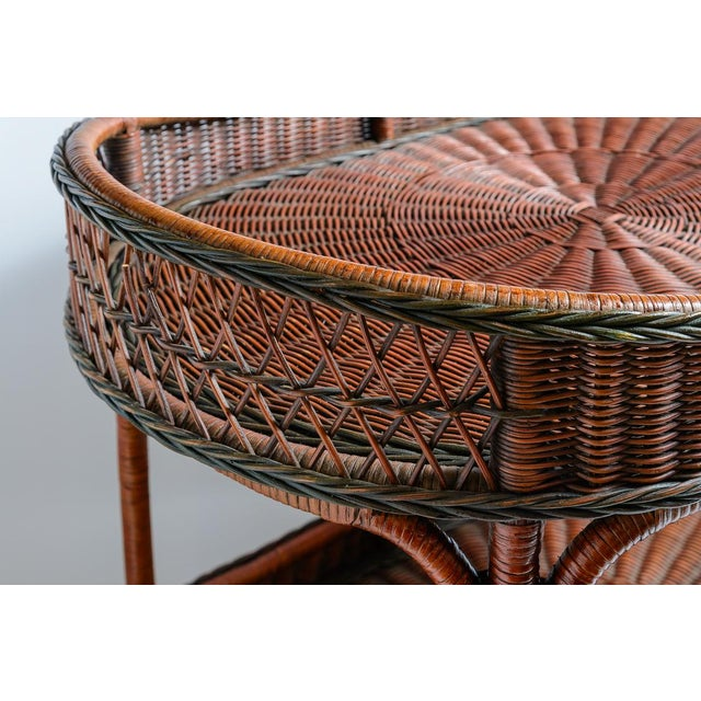 Wonderful vintage Large Woven Rattan two tier Trolley/Bar-cart, made in Belgium, C.1970. Unusual woven rattan in a rare...