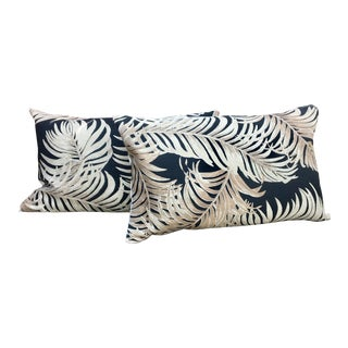 Vintage Palm Fronds Barkcloth Lumbar Pillows - A Pair For Sale