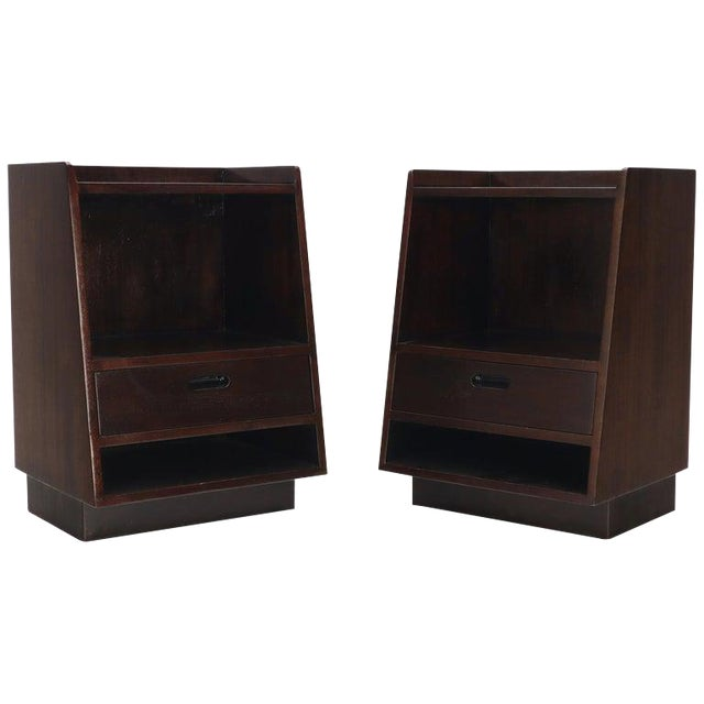 Pair of Edward Wormley for Dunbar Dark Chocolate End Tables Nightstands For Sale