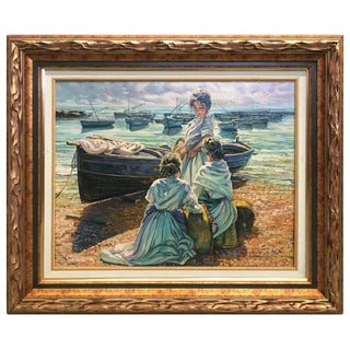 20th Scene of This Time, Sea, Spanish Oil on Canvas, Gonzalez Alacreu For Sale