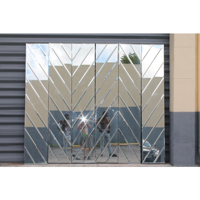 Mid-Century Modern Beveled Mirror Screen - Image 11 of 11