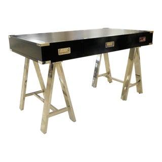 Lexington Furniture Leather and Chrome Sawhorse Desk For Sale
