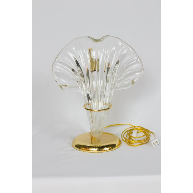 Italian Blown Glass and Gold Lamp. Clear blown glass. Bright gold metal finish on metals. Rewired and in excellent...