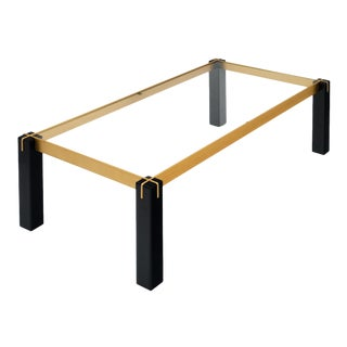 Modernist Brass and Black Coffee Table For Sale
