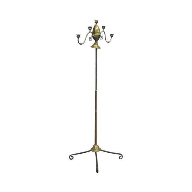 Gold Turn of the Century Brass Standing Lamp For Sale - Image 8 of 9