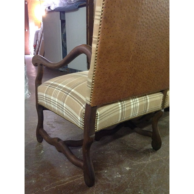 French Settee in Ralph Lauren Wool Plaid & Ostrich - Image 5 of 7