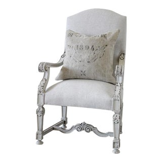 19th Century French Library Armchair in Natural Linen For Sale
