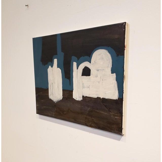 "Romantic minimalist landscape by artist Lionel Lamy. Acrylic paint on canvas. Measures 15.75"" high x 19.75"" wide. Signed..."