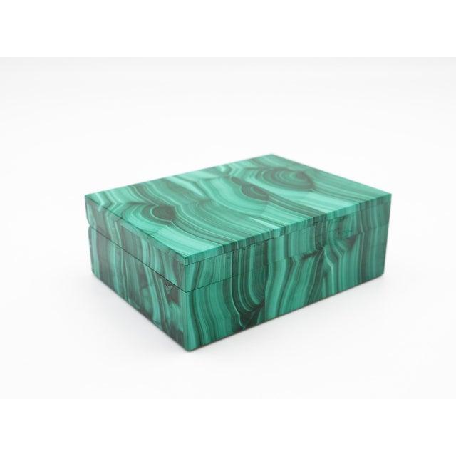 Gemstone Malachite Semi-Precious Stone Box For Sale - Image 7 of 8