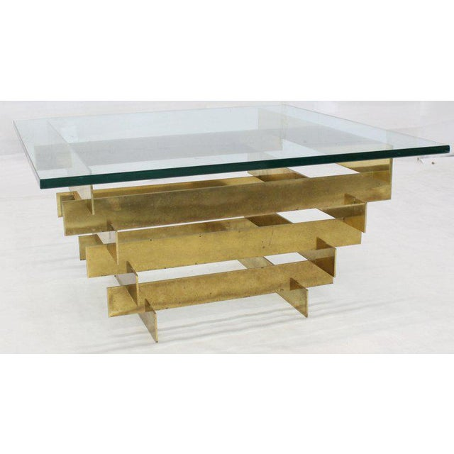 1970s Mid-Century Modern Bronze Base Glass Top Square Coffee Table For Sale - Image 4 of 12