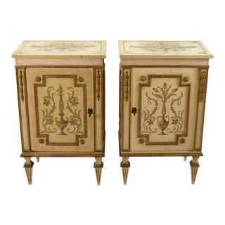 Italian Florentine Painted Parcel Gilt Nightstands - A Pair