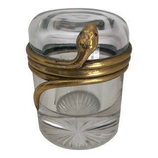 Late 19th Century Glass Inkwell With Bronze Snake Motif, French For Sale