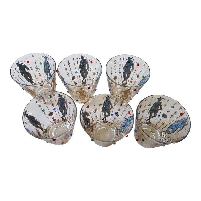 Culver Mardi Gras Glasses - Set of 6 For Sale