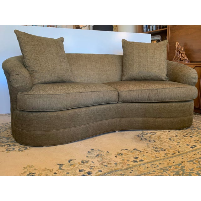 1990s Drexel Heritage Kidney Bean Shape Olive-Green Curved Sofa For Sale - Image 5 of 12