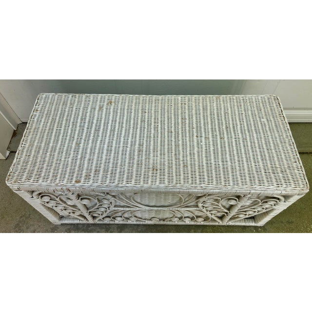 White Heart Peacock Wicker Rattan Trunk For Sale - Image 4 of 7