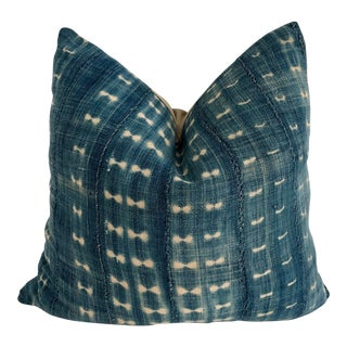 Mali Indigo & Linen Pillow For Sale