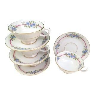 Vintage Lenox Belvidere Cups and Saucers, Set of 4 For Sale