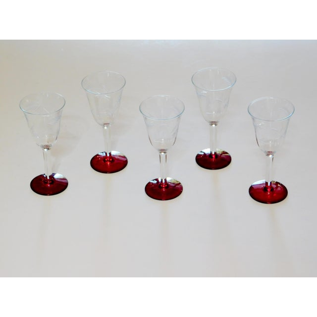 Etched Glass Ruby Footed Aperitif Glasses - Set of 5 For Sale In San Francisco - Image 6 of 6