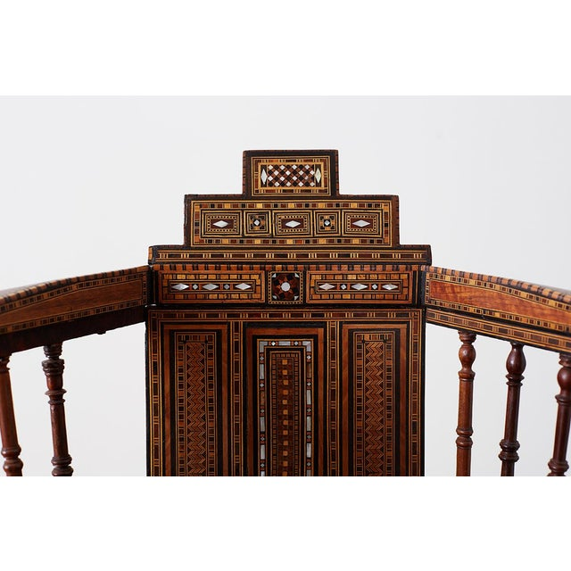 Brown Syrian Armchair With Inlay Moorish Designs For Sale - Image 8 of 13