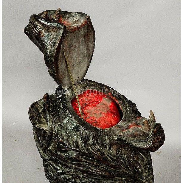 Gorgeous Papier Mache Lion Head Basket on Antler Base 1880 For Sale - Image 4 of 7