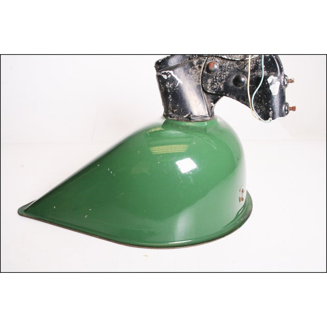 Vintage Industrial Large Green Enamel Light Fixture with Bracket - Image 6 of 11