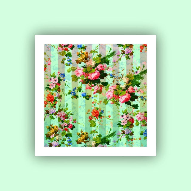 Boho Chic Antique 'French Wallpaper' Archival Print For Sale - Image 3 of 3