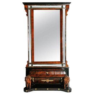 19th C. Italian Walnut and Mahogany Mirror For Sale
