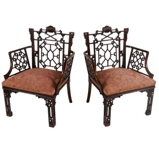 Chinese Chippendale Armchairs, Lord Leverhulme For Sale