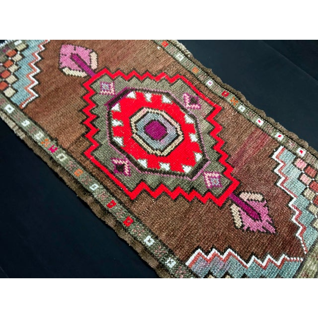 "1960's Vintage Distressed Turkish Anatolian Rug-1'7'x3'2"" For Sale - Image 4 of 6"