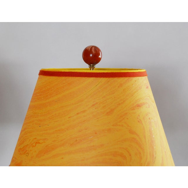 Vintage Brass Desk Lamps & Marble Shades - Pair - Image 4 of 6