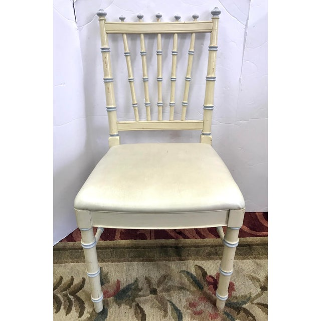Vintage Thomasville Cream Painted Faux Bamboo Desk and Chair For Sale - Image 9 of 10