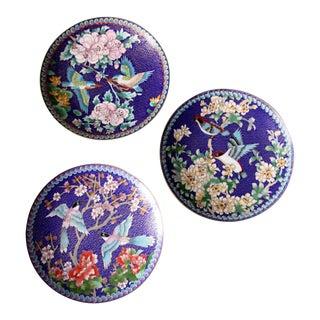 Vintage Ching-T'ai Ian Artist Workshop Cloissone Enamel Plates - Set of 3 For Sale