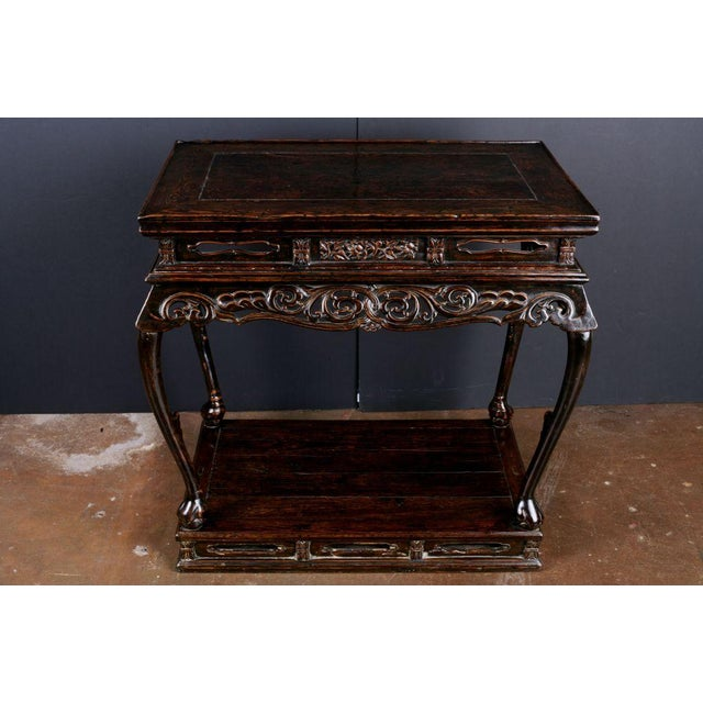 An Extremely Rare Late Ming Dynasty Elm and Burl Altar Table For Sale - Image 4 of 7
