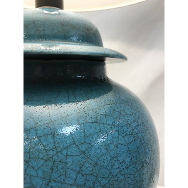 Turquoise Vintage Turquoise Ceramic Crackle Lamps- a Pair For Sale - Image 8 of 9