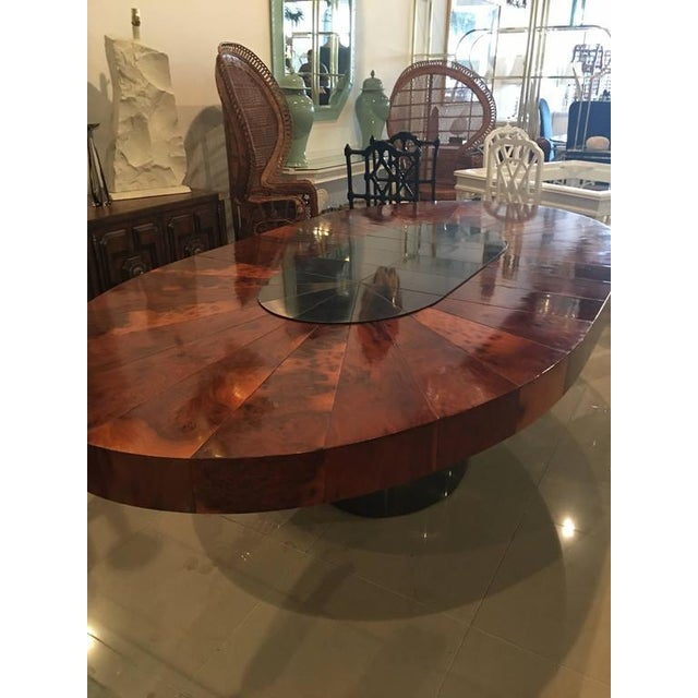 Paul Evans Burlwood Dining Table Brushed Metal For Sale - Image 9 of 12