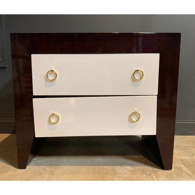 2010s Worlds Away Rosewood & White Lacquer Nightstand For Sale - Image 5 of 5