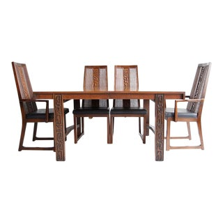 1960s Brutalist United Furniture Dining Set - 7 Pieces For Sale