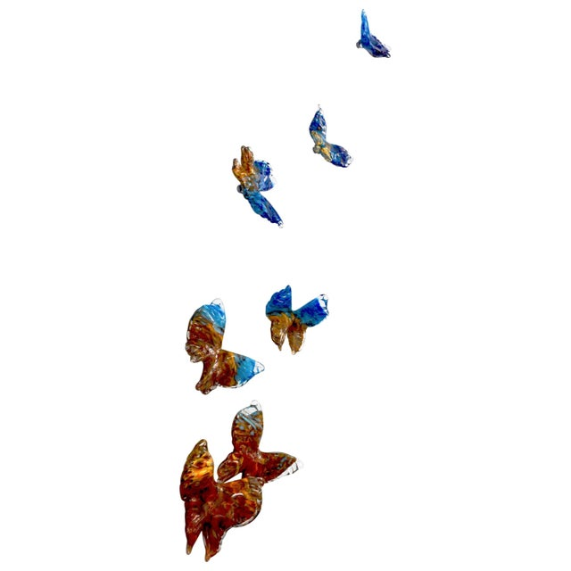 Flight of Blue Butterflies Contemporary Blown Glass Wall Art Sculpture For Sale - Image 11 of 11