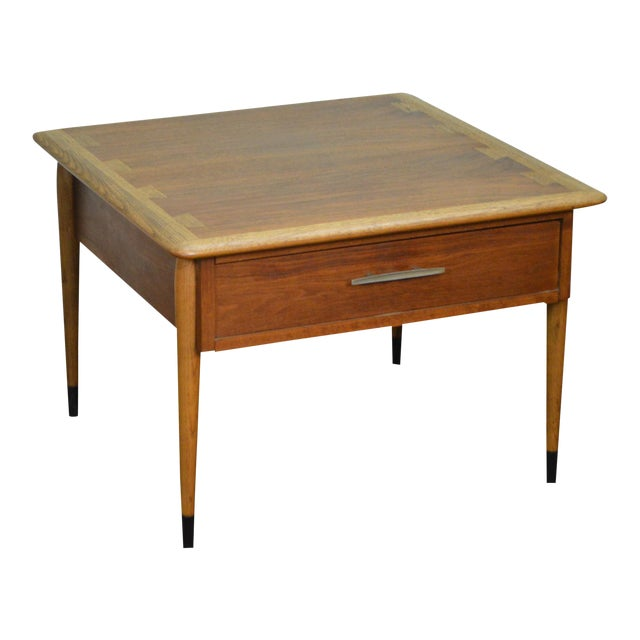 Lane Mid Century Modern Walnut Dovetailed Top 1 Drawer Side Table