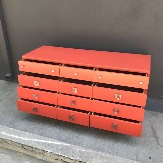 Mid-Century Modern Mid Century Restored Lacquered 12~Drawer Dresser For Sale - Image 3 of 13