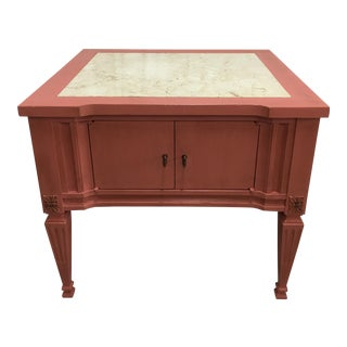Scandinavian Pink Italian Marble Top End Table For Sale